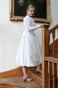 1950s Mid Calf Silk Wedding Dress