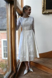 1950s Mid Calf Silk Wedding Dress (Front)