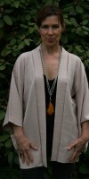 Very pale pink silk haori jacket with fine silver thread running through it
